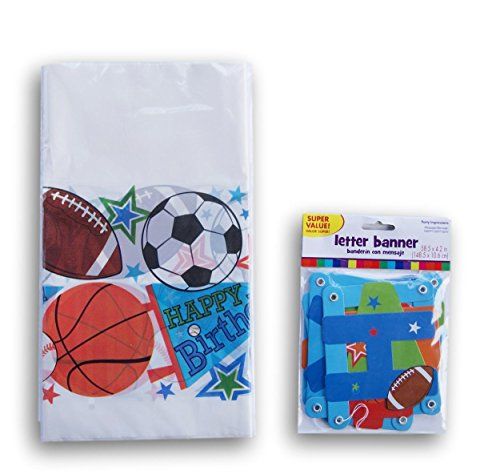 Sports Patterned Birthday Party Supply Kit - Table Cover and Jointed Banner