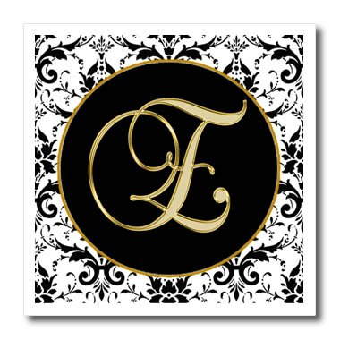 3drose fancy monograms image of the script letter e in black white and gold