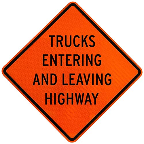 Traffic Signs - Trucks Entering and Leaving Highway Sign 12 x 18 Magnet Sign Street Weather Approved Sign