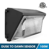 LED Wall Pack Lights with Photocell, 100W Outdoor Security Area Lighting, Dusk to Dawn, 5000K Daylight White, 11000Lumen, IP65 Waterproof, Commercial Grade Flood Light
