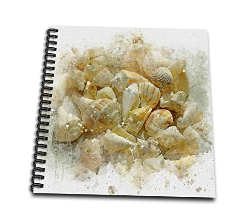 (3dRose Anne Marie Baugh - Impressionist Mixed Media Art - Image Of Watercolor Beach Seashells Art - Mini Notepad 4 x 4 inch (db_318726_3))