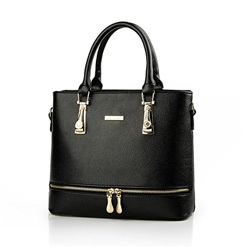 Lady Women Medium Leather Buckle Trendy Crossbody Satchel Purses Hobo Light Shoulder Handbag (Black Buckle Purse)