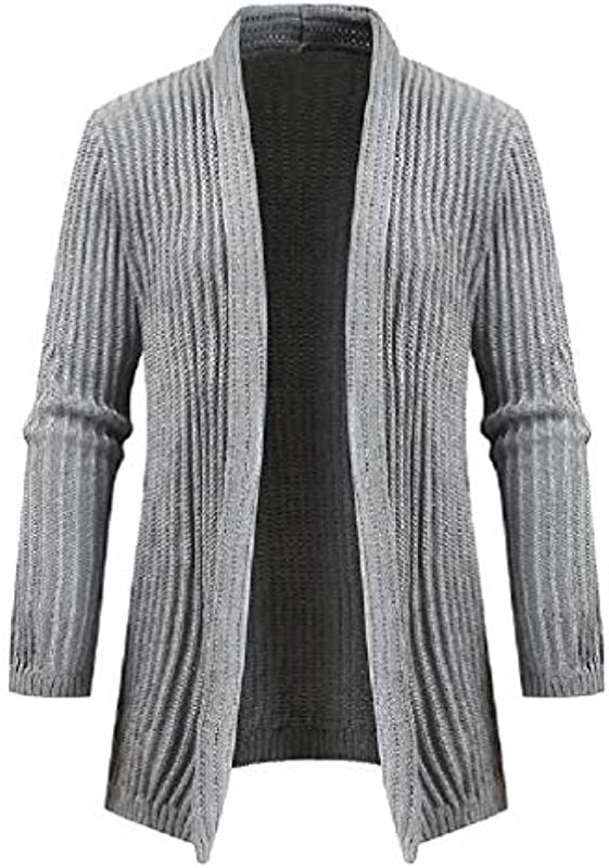 H&E Men Mid Length Shawl Collar Slim Fit Knit Open Front Solid Color Cardigan Coat: Odzież