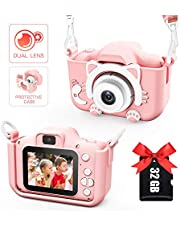 Kids Camera for Girls and Boys, Kids Digital Dual Camera 2.0 Inches Screen 20MP Video Camcorder Anti-Drop Children Cartoon Selfie Camera, Camera for Kids with Games, Birthday Gift, 32GB Memory Card