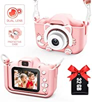 Kids Camera for Girls and Boys, Kids Digital Dual Camera 2.0 Inches Screen 20MP Video Camcorder Anti-Drop Chil