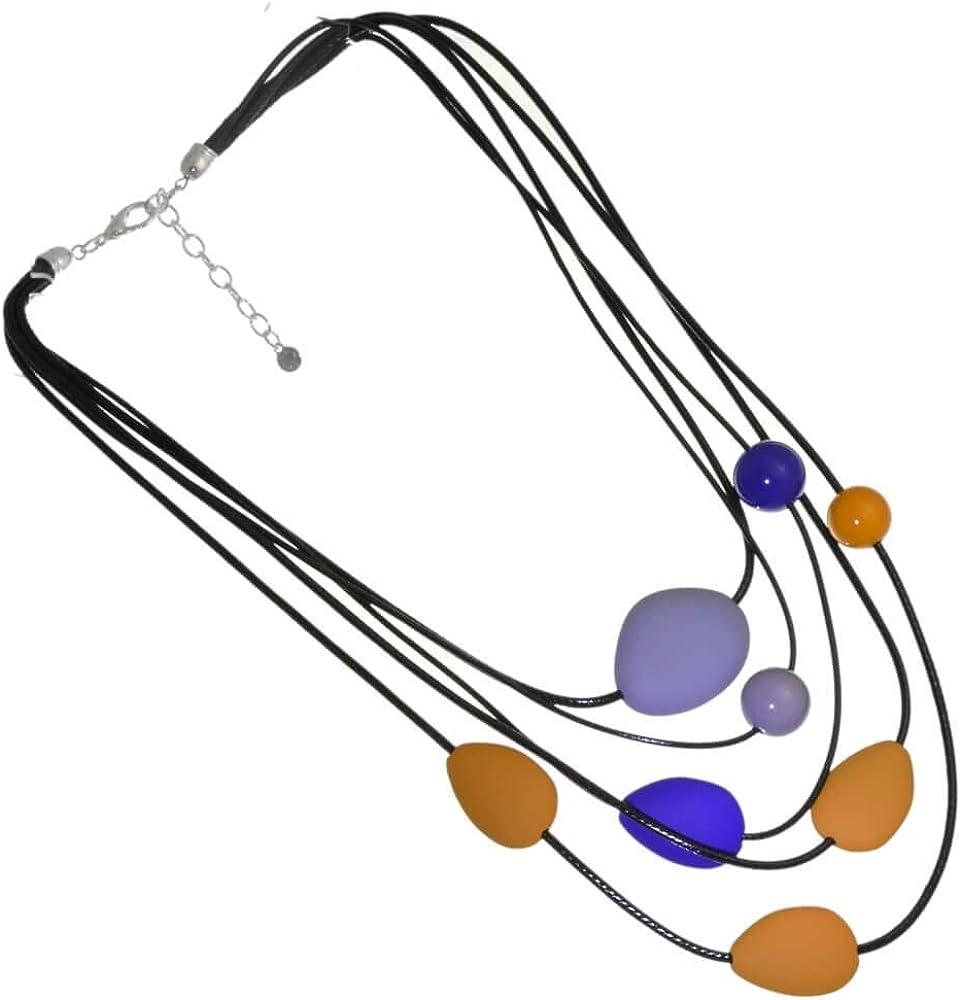 Rue B Bold Fashion Jewellery: Collar de Piel con Capas Negras con Cuentas esféricas y de Piedras en Tonos Mostaza, Azul y Gris (YK353) B
