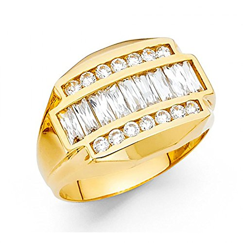 14k Yellow Gold Channel Set Baguette CZ Men's Ring