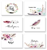 #8: 48 Assorted Pack Floral Thank You Cards Greeting Cards Boho Spirit, 4 x 6 Inch Thank You Notes Card Blank on the Inside 6 Designs, White Envelopes Included