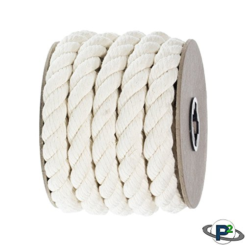 Paracord Planet Twisted 3 Strand Natural Cotton Rope Artisan Cord – 1/4,  1/2, 5/8, 3/4, and 1 inch Diameters – Super Soft White and Assorted