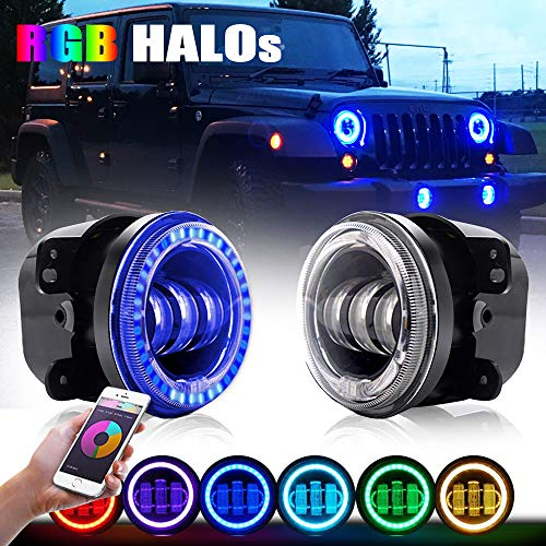 4XBEAM 4 Inch RGB Halo LED Fog Light for 07-18 Jeep Wrangler JK Unlimited JK | Front Bumper Replacements Foglights Chrysler Jeep Wrangler Unlimited