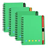 M-Aimee 4 Sets Spiral Notebook Kraft Paper Cover Steno Pocket Notepad with Pen in Holder, Sticky Notes and Page Marker Index Tabs Flags, 3.3 x 5.3 inches (Green)