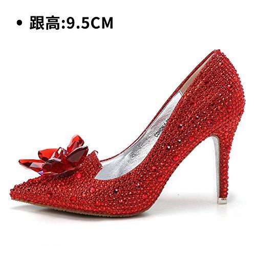 Zapatos Zapatos Zapatos Rojo Hembra de de 5CM de Red de Tacón Nupcial 9 Noche Botas Mujer Cristal HUAIHAIZ Boda Zapatos Tacones qtxB8wwCP