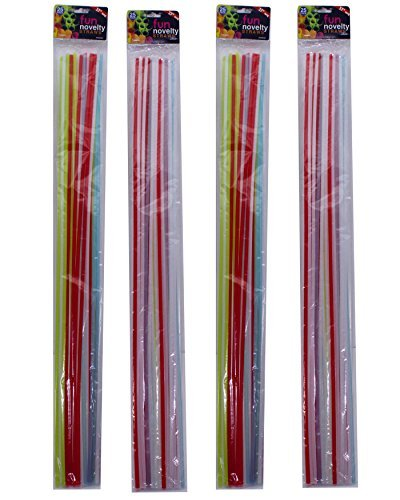 Pack of 100 Disposable Extra Long Novelty Straws in Assorted Colors, 27