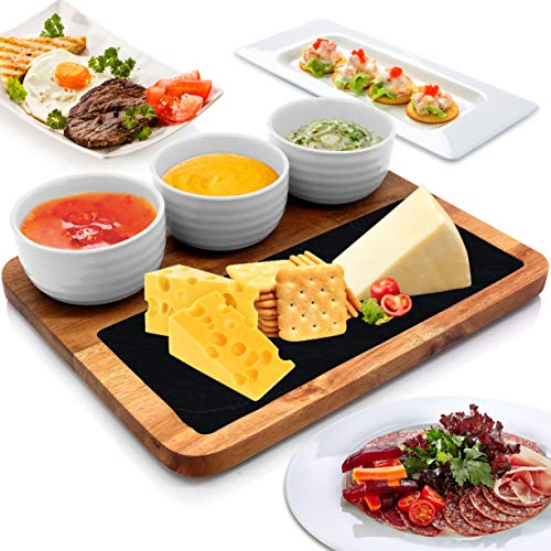 Wooden Snack Board Tray Set - Modern Rectangular Acacia Wood Food Serving Platter w/ Flat Black Natural Slate Slab Stone Plate, Three Ceramic Bowls - Serve Sushi, Appetizer, BBQ - NutriChef PKSNKB10