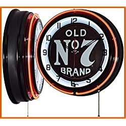 Jack Daniel's 18 Old No. 7 Brand Sign Orange Double Neon Clock