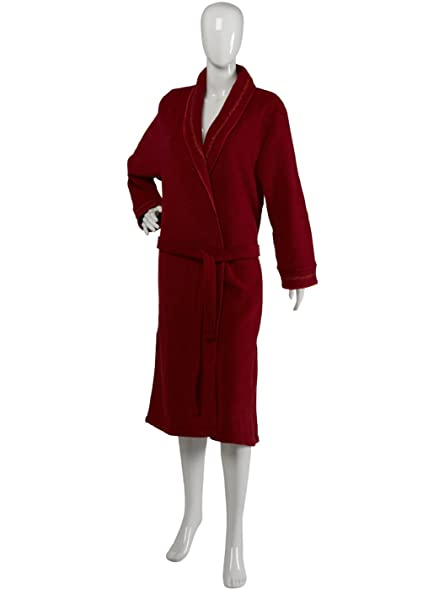 Ladies Luxurious Satin Style Trim Soft Fleece Shawl Collar Dressing ...