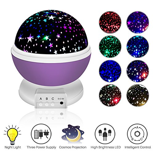 75w Projection Lamp (Night Lighting Lamp, Star Projector, soled Baby Night Light 360 Degree Rotation Moon Star Projector, 3 Mode Colorful LED Romantic Cosmos Projector, Gift for Children Kids Baby Nursery Room Decoration)