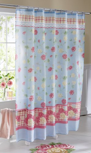 Pastel Country Rose Bathroom Shower Curtain