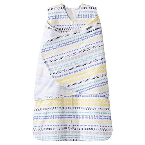 Halo Sleepsack 100% Cotton Swaddle, Stripes/Circles Yellow, Small
