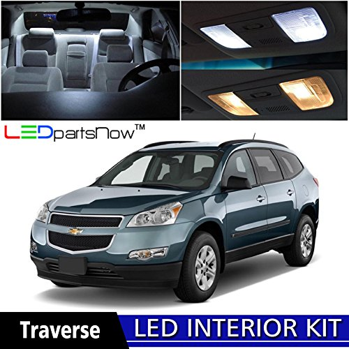 4 Chevy Traverse LED Interior Lights Accessories Replacement Package Kit (6 Pieces), WHITE ()