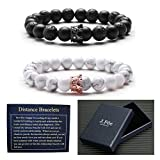 J.Fée Distance Bracelet Couples Adjustable Beaded Bracelet with Howlite, Lava Stone Friendship Relationship His-and-Hers Essential Oil Diffuser Bracelet