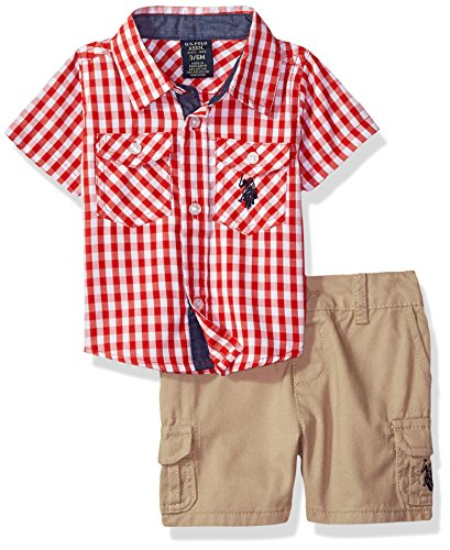 U.S. Polo Assn. Baby Boys Sport Shirt and Short Set, Picnic red/Multi Plaid, 3-6 Months