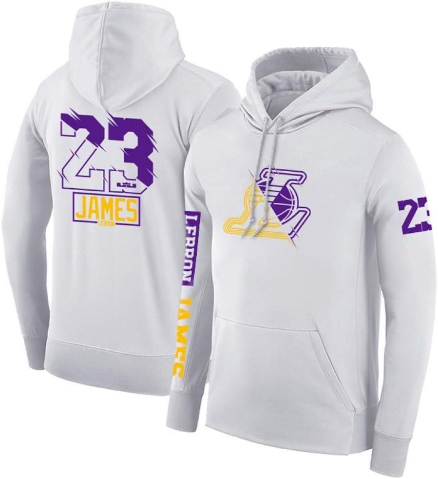 23 Lakers Ropa De Baloncesto Unisex HHNN Sudadera con Capucha De Baloncesto para Hombre Ropa Deportiva De Baloncesto Informal Negro Y Blanco Y Morado