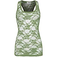 Bozzolo Women's Sexy Full Lace Long Racerback Tank Top Multi Color Available