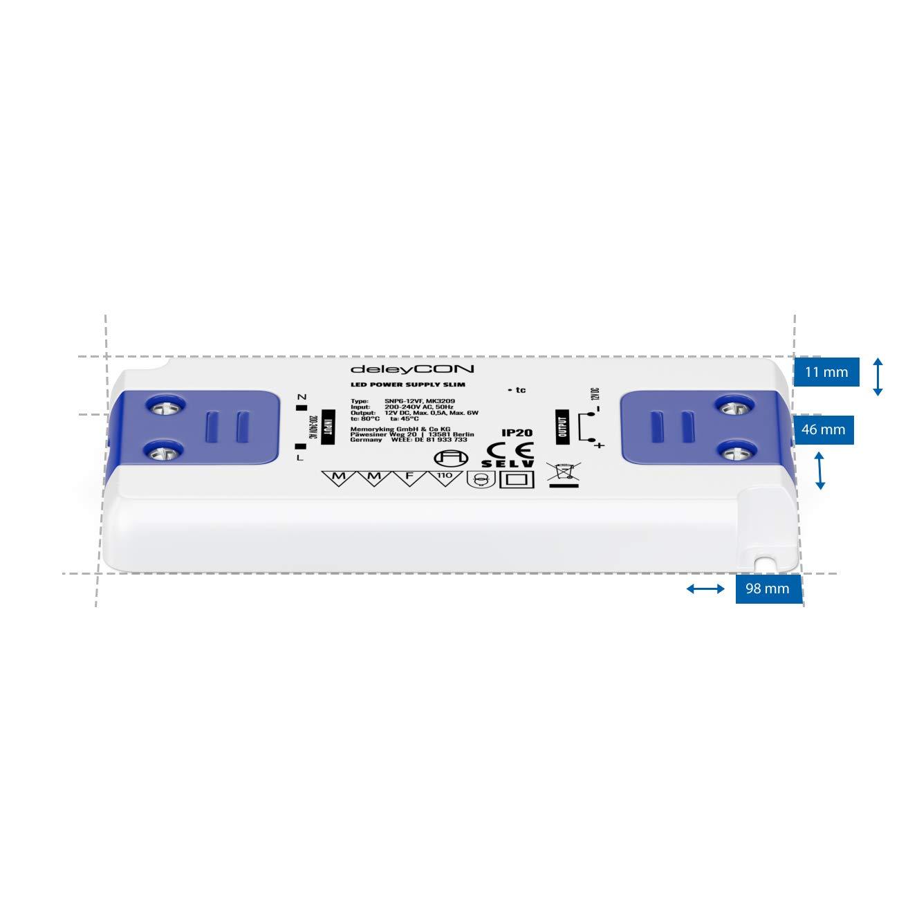 deleyCON 12V LED Transformador Adaptador Slim 0-20W 200-240V a 12V DC LED L/ámparas Cintas de Luz G4 MR11 MR16 Luces Sobrecarga Sobrecalentamiento Cortocircuito