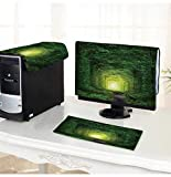 PRUNUS Computer dust Cover Fantastic Trees Tunnel of Love with Fairy Light afar,Magic Background dust Cover 3 Pieces Set /26'