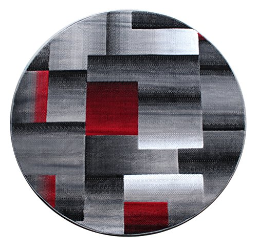 Masada Rugs, Modern Contemporary Round Area Rug, Red Grey Black (5 Feet X 5 Feet) Round (Red Rug Area Black Grey)