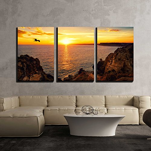 "wall26 - 3 Piece Canvas Wall Art - Tranquil Sunset Scenery at The Ocean with The Sunlight Reflected on The Water - Modern Home Art Stretched and Framed Ready to Hang - 24""x36""x3 Panels"