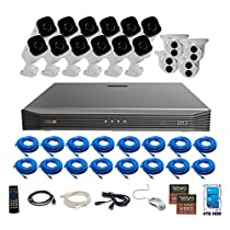 Revo America Ultra 16CH 4K H.265 NVR,  4 TB Surveillance Grade HDD, Remote Access, with 12x IR Bullet & 4x IR Turret Cameras, 4 Megapixel,  Indoor/Outdoor, True WDR.