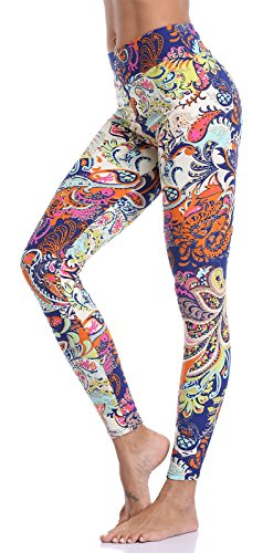 Aenlley Women's High Waist Printed Spandex Leggings - Ultra Soft Workout Legging Color Size Plus Size Lycra Workout Pants