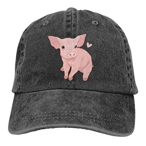 - Cute Pink Pig Dad Denim Hat Washed Baseball Caps Adjustable Women's