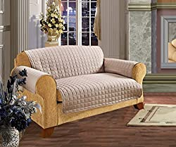 Elegant Comfort QUILTED FURNITURE PROTECTOR for Pet Dog Children Kids - Special Treatment Microfiber As soft as Egyptian Cotton, Natural Sofa(110in x 75.5in )
