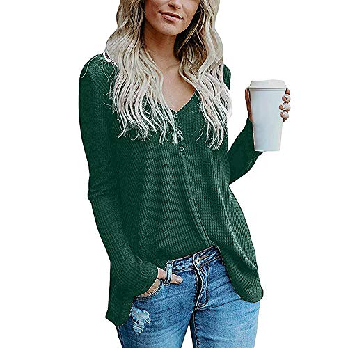 vermers Womens Blouse Womens Loose Knit Tunic Tie Knot Henley Tops Batwing Plain Shirts(S, z-zGreen)
