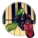 Liili Round Mouse Pad Natural Rubber Mousepad Rose on the piano Photo 16793518