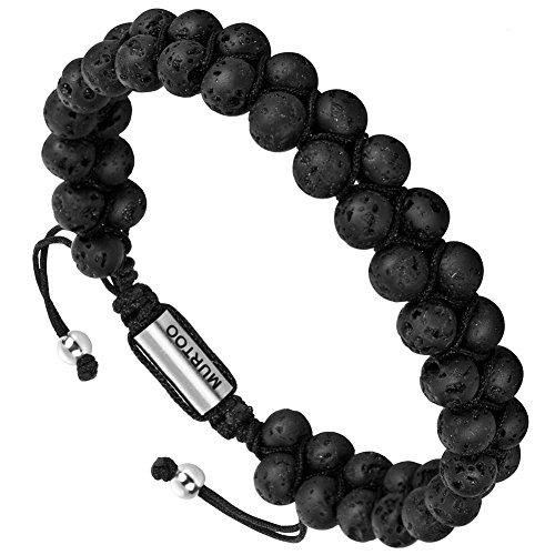7' Bracelet Jewelry (murtoo Essential Oil Bracelet Adjustable Beads Bracelet Lave Stone Perfume Diffuser, 7''-9'' Gift)