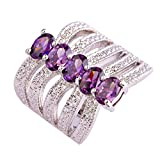 Psiroy 925 Sterling Silver Grace Womens Band Charms 4mm*6mm Oval Cut Amethyst Filled Ring