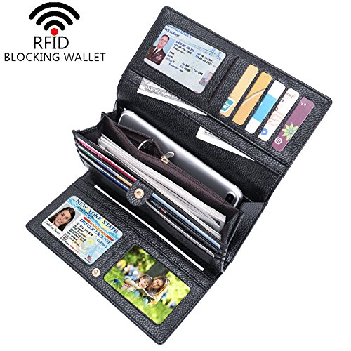 I2crazy Womens RFID Blocking Wallet Classic Clutch Leather Long Wallet Card Holder Purse Handbag(Black - Ladies Black Wallet Checkbook