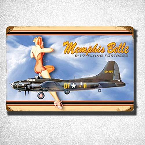 U.S. WW2 Vintage Metal Sign: B-17 Memphis Belle Vintage Tin Sign Bar Pub Home Metal Poster Wall Art Decor TIN Sign 7.8X11.8 INCH
