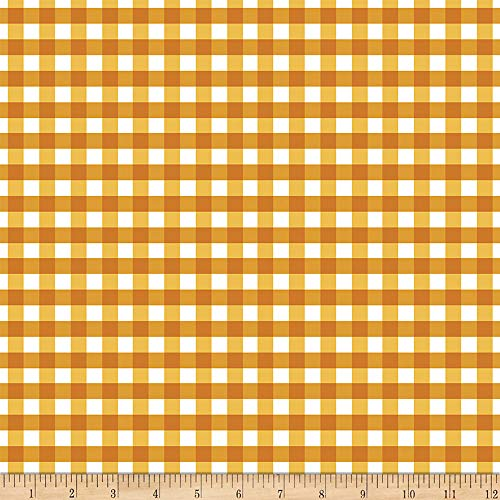 Flower Market Gingham Gold Fabric by the Yard