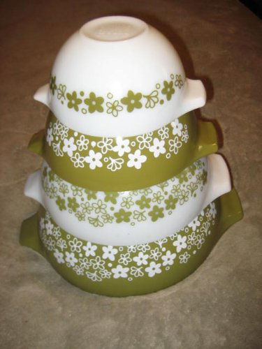 SET OF 4 - Vintage 1970's Pyrex Spring Blossom Green Cinderella Mixing Nesting Batter Bowl - 1 1/2 Pint, 1 1/2 Quart, 2 1/2 Quart & 4 Quart
