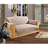 Elegant Comfort Quilted Furniture Protector For Pet Dog Children Kids Cotton Love Seat, Natural