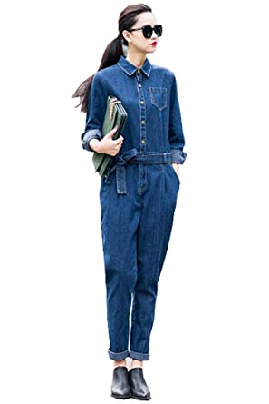 c7fe31a0b07 Amazon.com  Denim Women s Full Sleeve Casual Loose Jumpsuits  Clothing