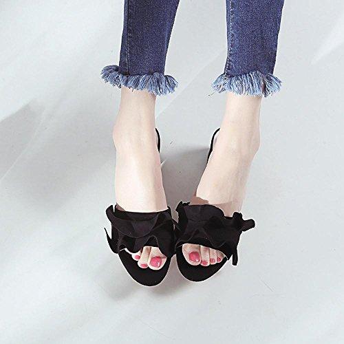 GJDE Mujer Chicas Sandalias Elegantes De Tacón Alto Peep Toe Zapatos Verano de talón Grueso Informal Black