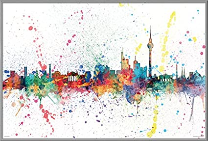 .com: berlin skyline - berlin, germany - framed pop-art poster ...