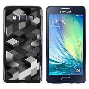 EJOY---Cubierta de la caja de protección la piel dura para el ** Samsung Galaxy A3 ** --Bloques grises