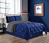 King Size Comforter Sets with Matching Curtains 3 Piece KING size Navy Blue / Grey / Black Double-Needle Stitch Puckered Pinch Pleat All-Season Bedding-Goose Down Alternative Embroidered Comforter Set